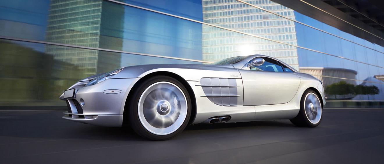 Mercedes SLR - SLR on forbidden property - fast driving McLaren Mercedes SLR